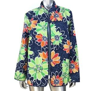 Alfred Dunner Blue Floral Jacket Sz 18W Plus